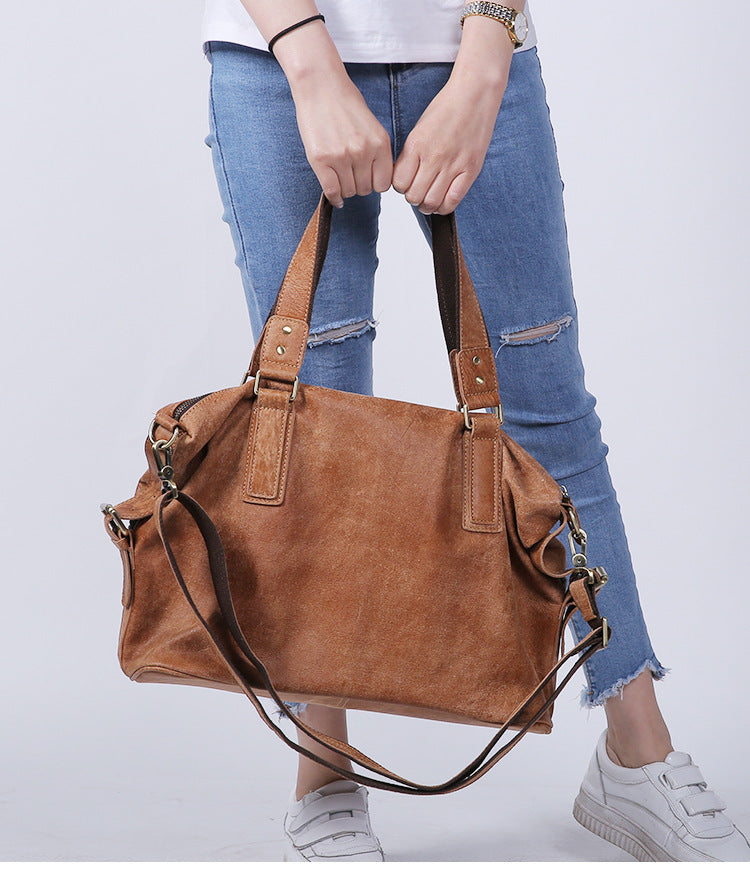 Fashion Solid Zipper Casual Shoulder Bag