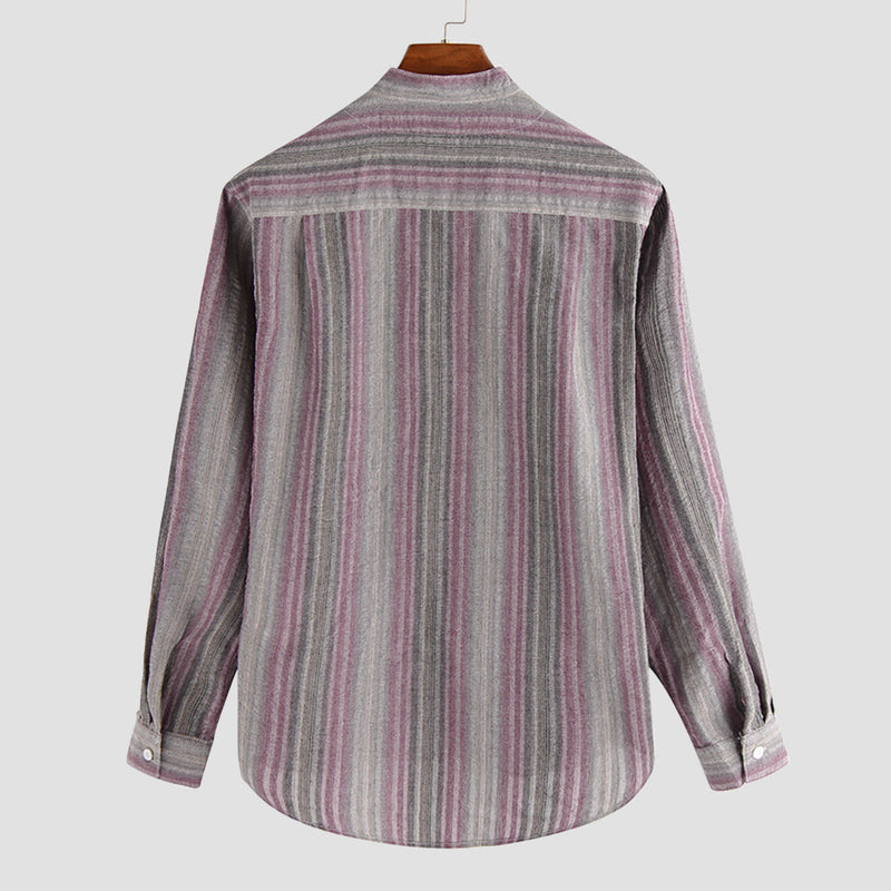 Men Striped Long Sleeves Round-Neck Shirt
