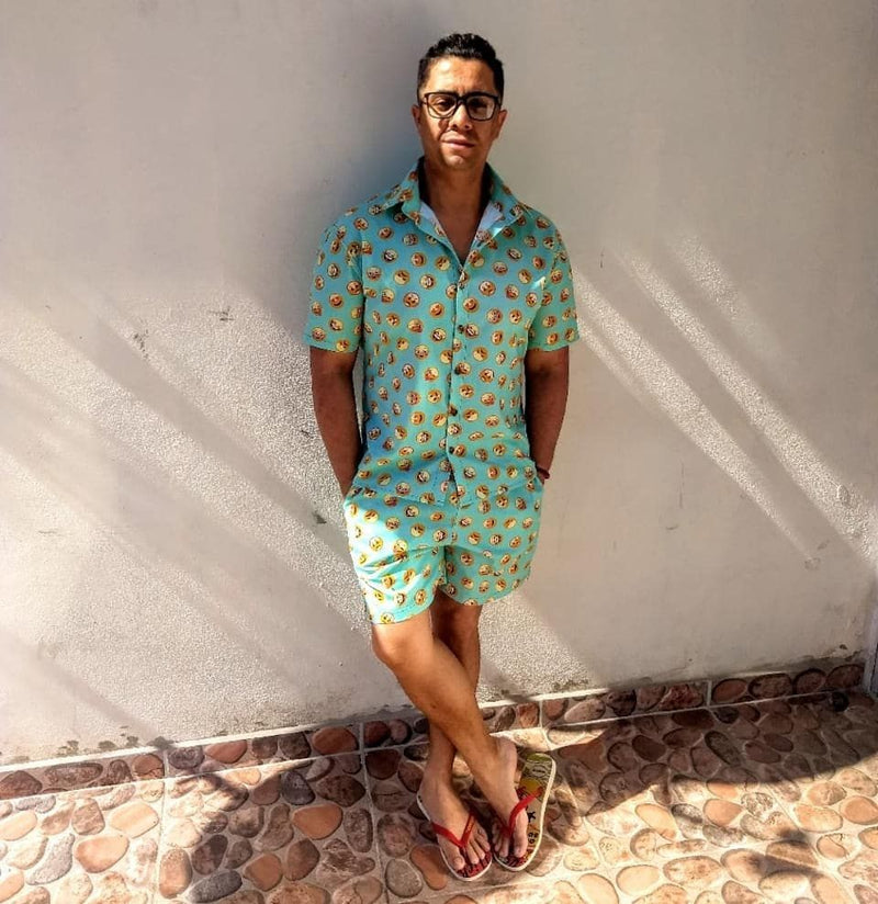 Men Floral Print Two-Piece Set
