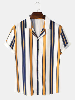 Men Basic Striped Casual Short Sleeve Shirts