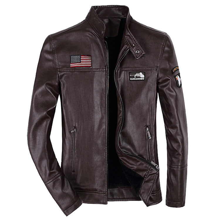Men Stand Collar Printed Leather Jacket