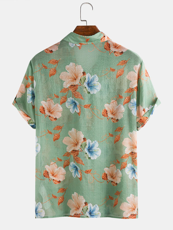 Men Floral Print Lightweight Breathable Vacation Casual Shirt