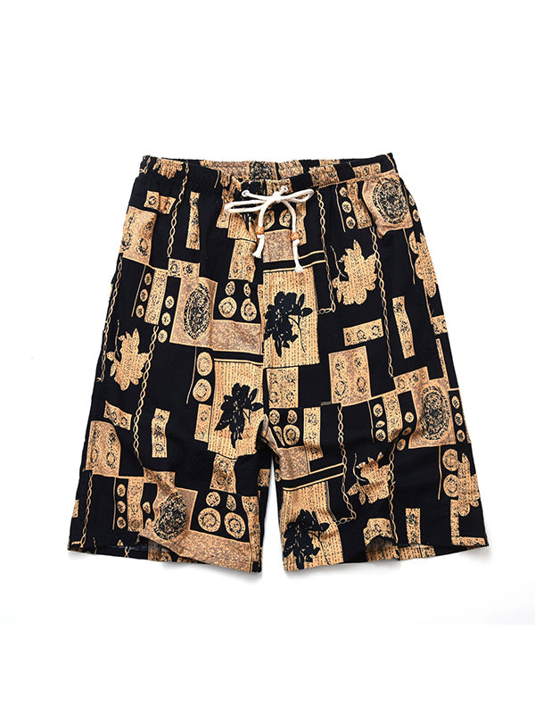 Men Ethnic Printed Summer Beach Shorts Swim Trunks