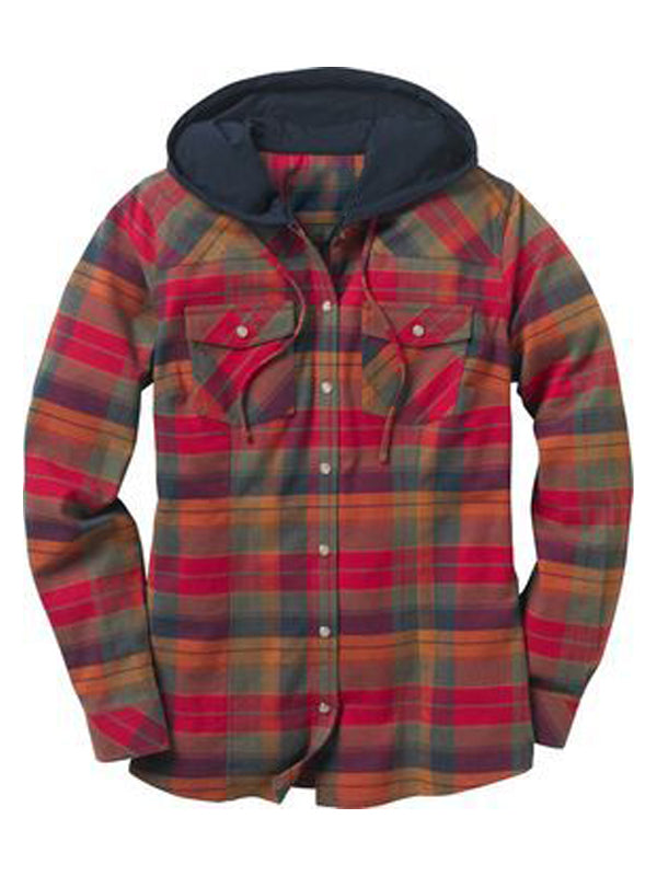 Men's Plaid Casual Hooded Long Sleeve Shirt