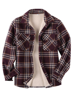 Casual Long Sleeves Lapel Plaid Lamb Cashmere Retro Shirt