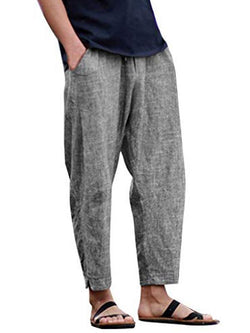 Mens Solid Simple Casual Pants