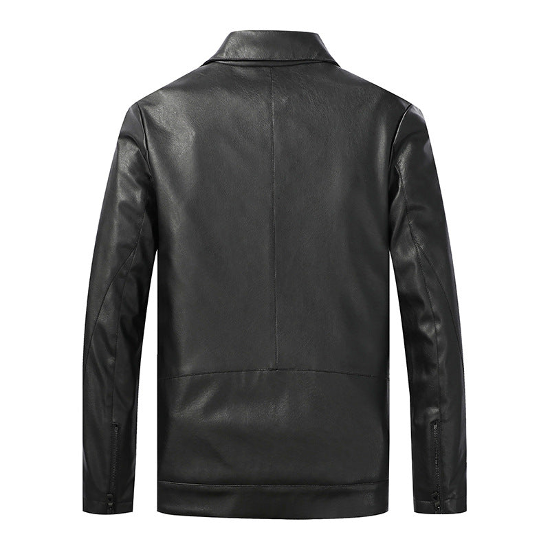 Men Solid Color Lapel Simple Leather Jacket