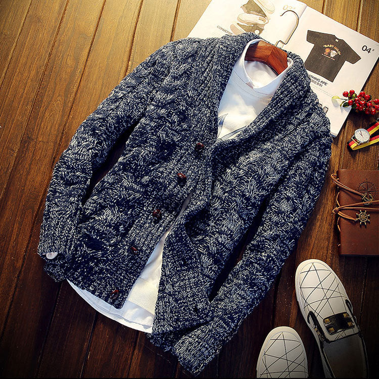 Men's Lapel Solid Color Sweater
