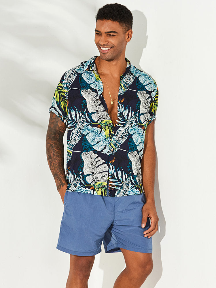 Men Hawaii Printed Summer Short Sleeves Shirt