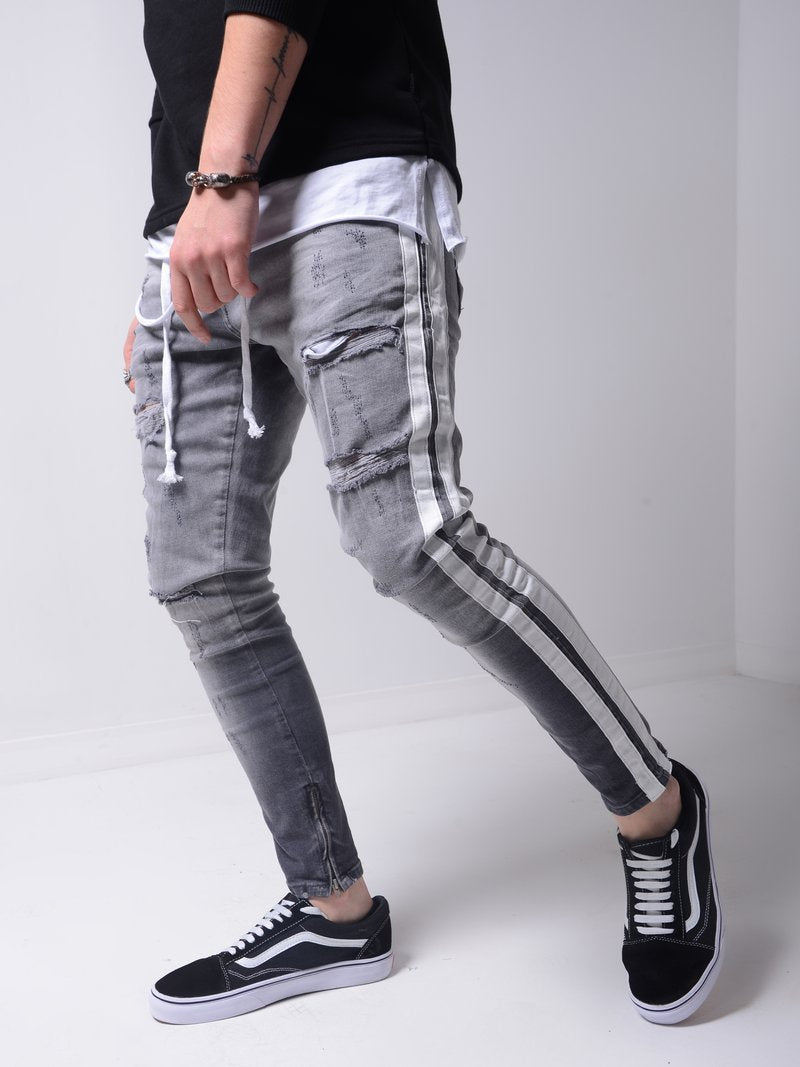 Men Hip Hop Ripped Slim Jeans