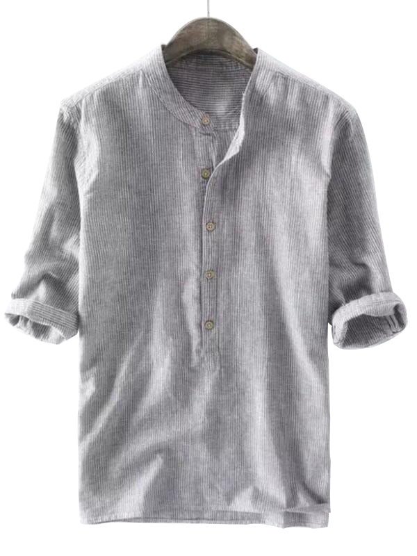 Mens Half Sleeves Stand Collar Blouses&Shirts