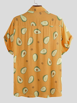 Casual Fruit Printed Mens Summer Blouses&shirts