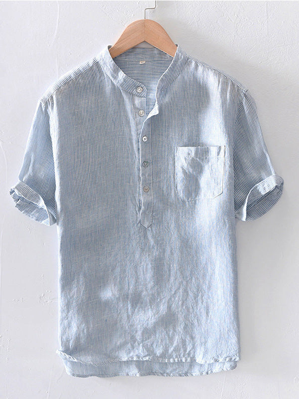 Men Cotton Linen Casual Short Sleeve Breathable Shirt