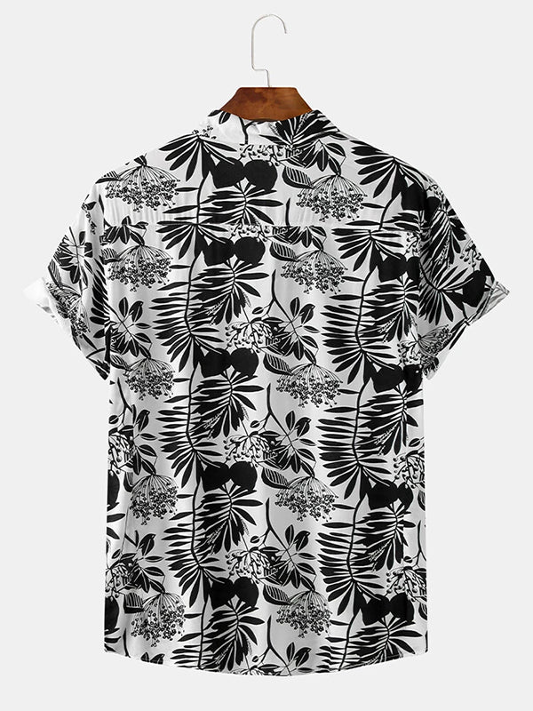 Men Casual Print Lapel Collar Short Sleeve Shirts