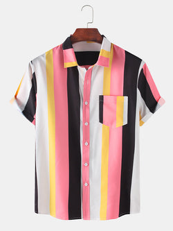 Men Colorful Striped Practical Breathable Casual Shirts