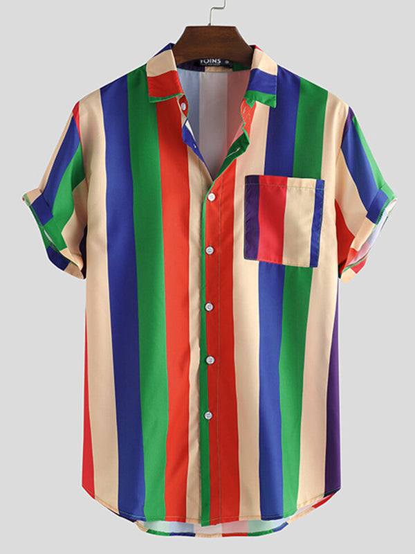Men Short Sleeves Lapel Colorful Striped Lapel Shirt