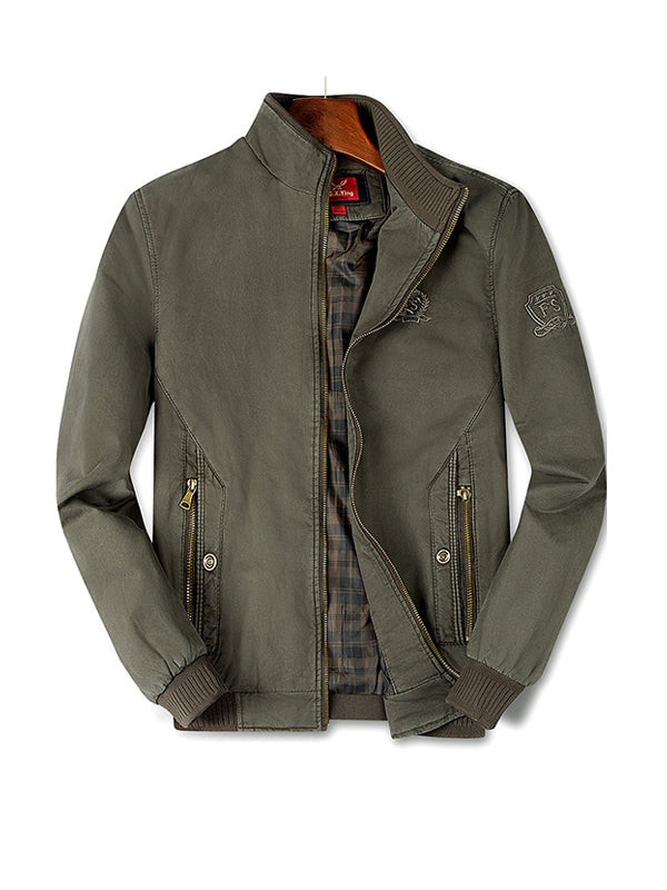 Men Stand Collar Solid Color Printed Casual Jacket
