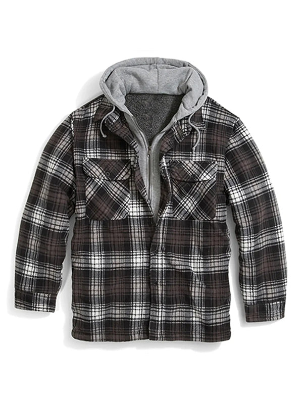 Men Plaid Printed Chest Pocket Hooded Casual Jacket