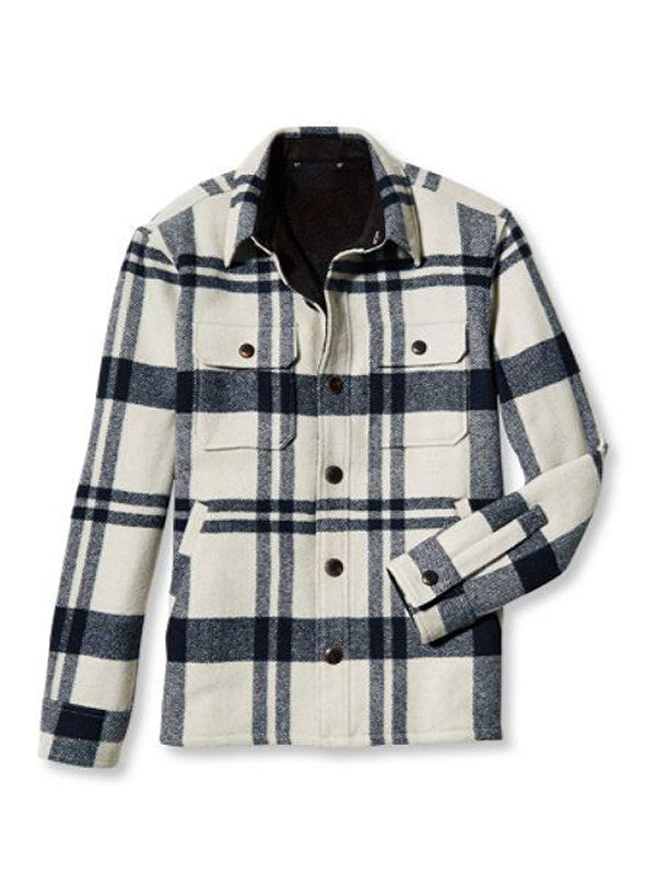Men Lapel Plaid Printed Casual Long Sleeve Shirt
