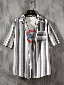 Men Casual Lapel Striped Short Sleeve