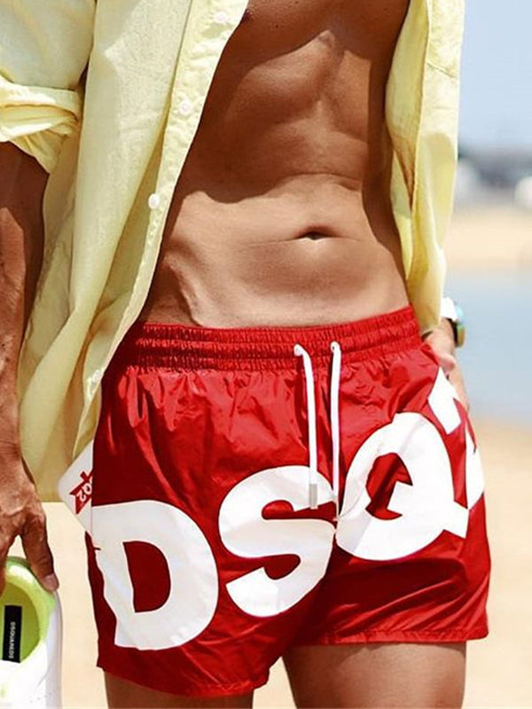 Men Quick-Drying Letter Printed Shorts Summer Beach Swimming Trunks