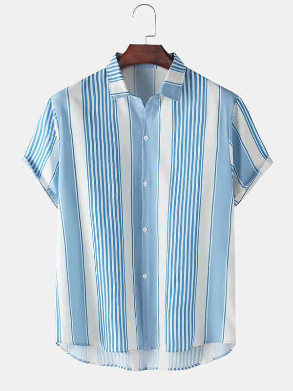 Men Stripes Loose Breathable Short Sleeve Shirts