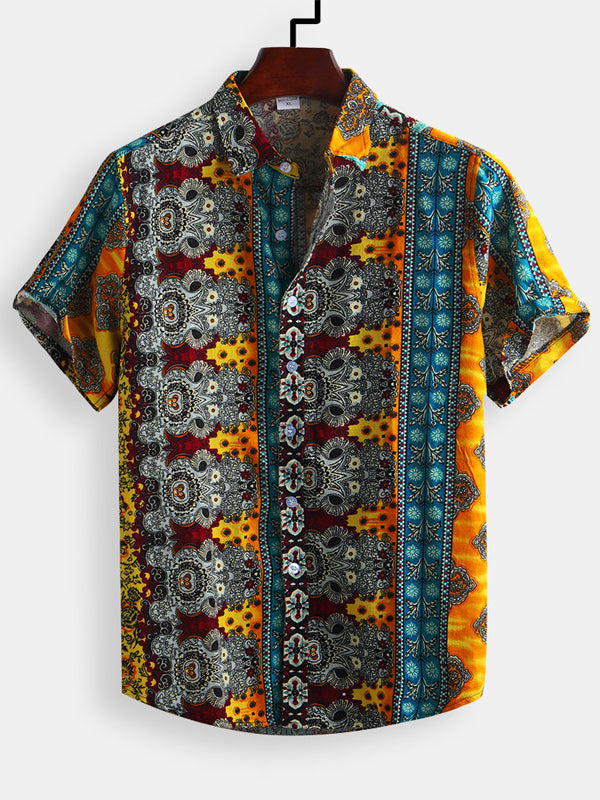 Men Short Sleeves Lapel Enthic Printed Printed Shirt