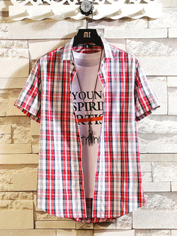 Men Casual Checked Short-Sleeved Shirt