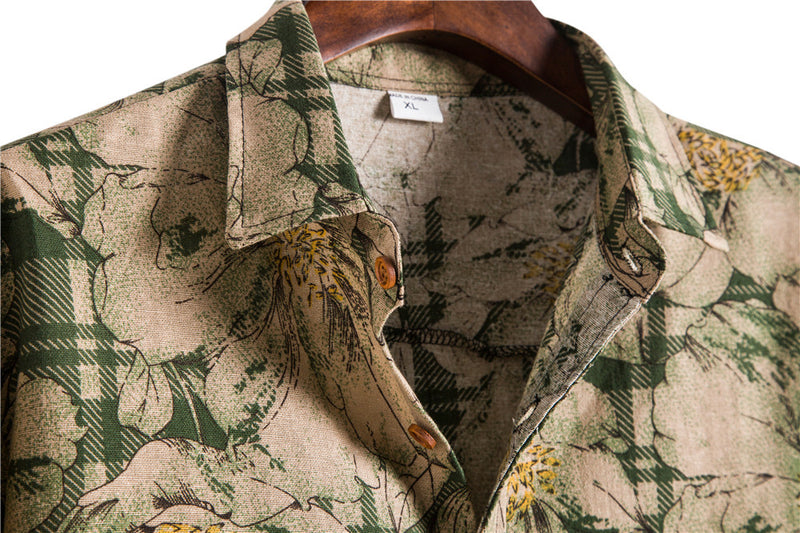 Men Floral Print Long Sleeve Shirt
