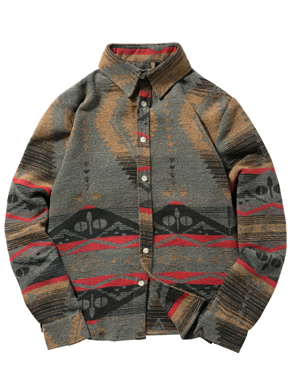 Men's Ethnic Print Long Sleeve Shirt
