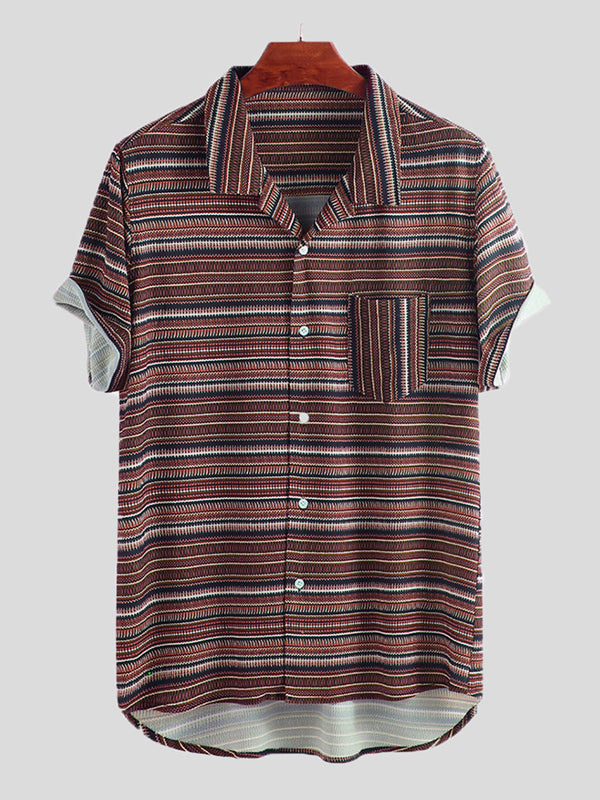 Men Striped Short Sleeves Lapel Retro Shirt