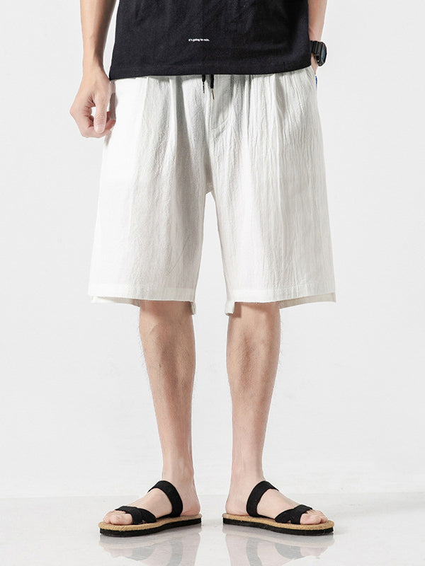 Men Solid Casual Pants Loose Beach Shorts