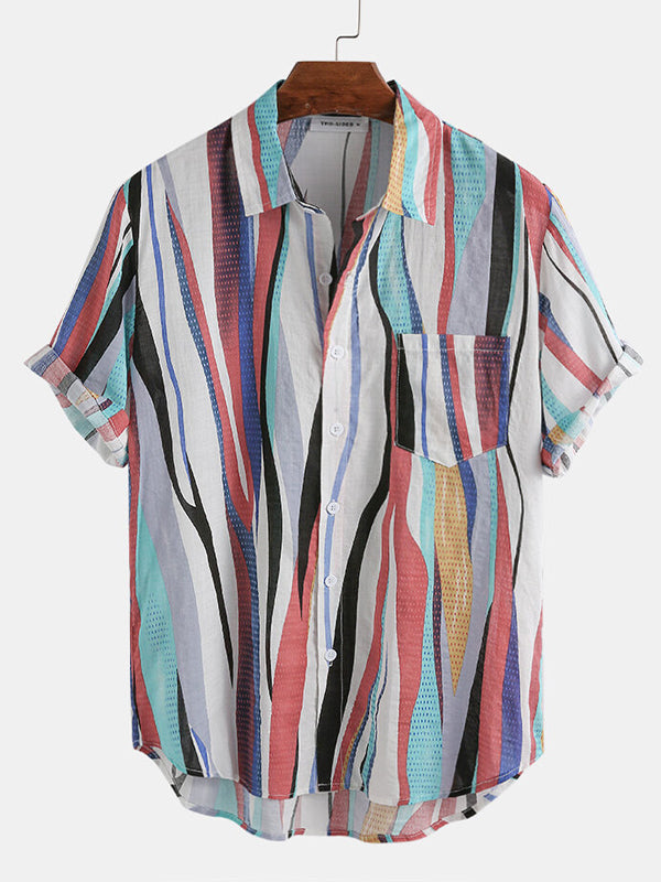 Men Short Sleeves Colorful Striped Lapel Shirt