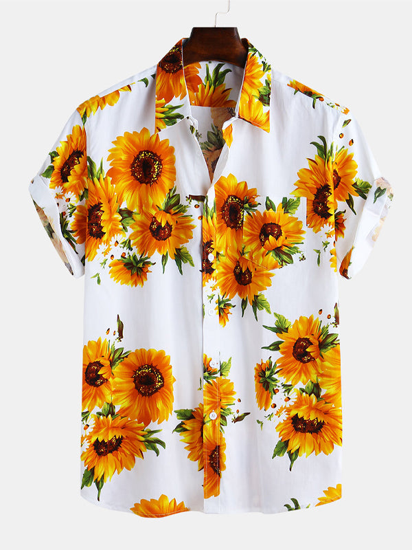 Men Floral Printed Short Sleeves Summer Shirt