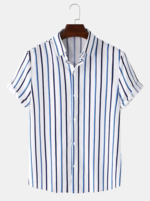 Men Basic Vertical Stripes Breathable Casual Short Sleeve Shirts
