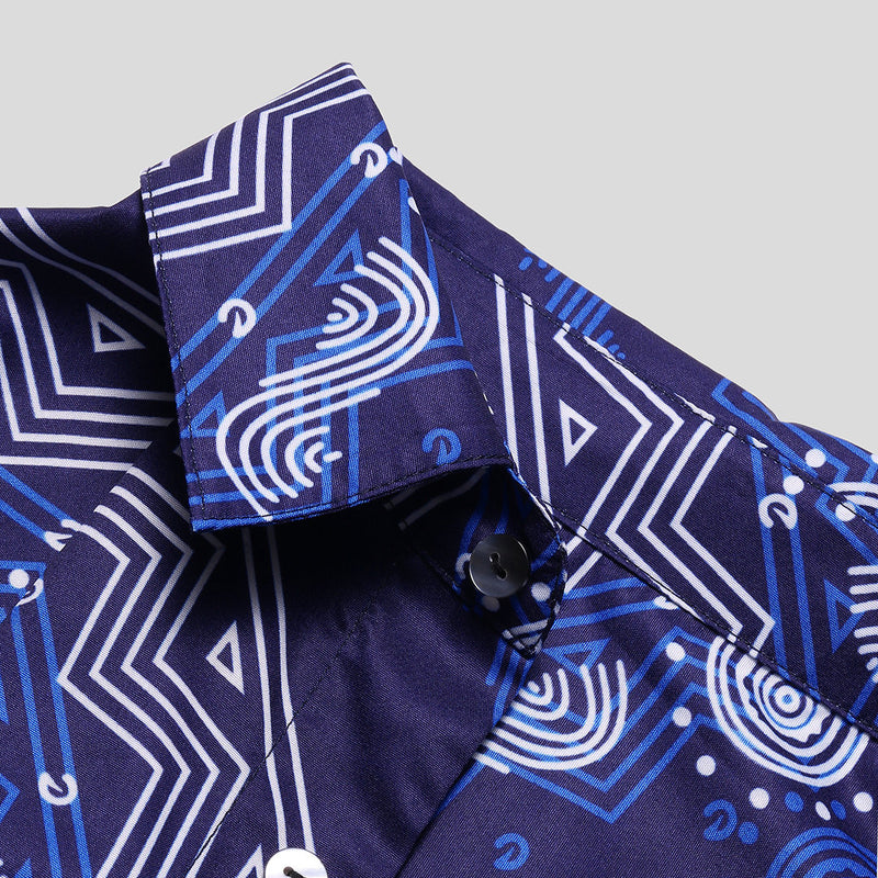 Men Short Sleeves Lapel Retro Ethnic Printed Shirt