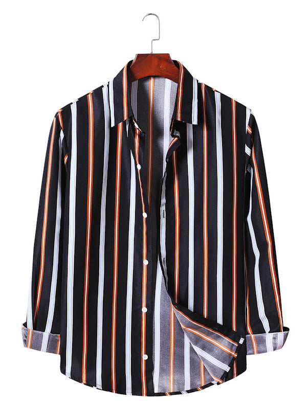 Men Fashion Striped Long Sleeve Shirt