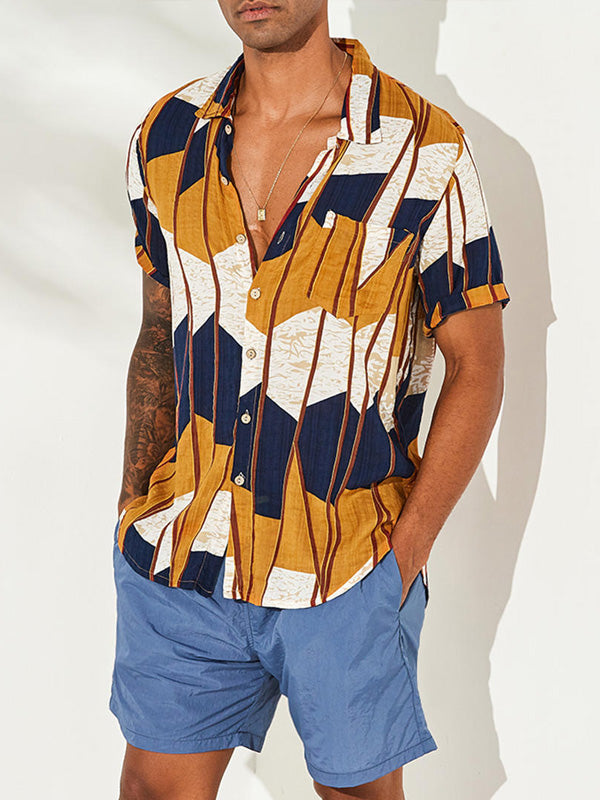 Men Summer Beach Holiday Printed Loose Blouses&shirts Tops