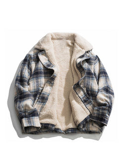 Men Plaid Colorblock Lapel Casual Jacket