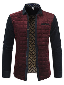 Men Lapel Plaid Split-Joint Cotton Jacket