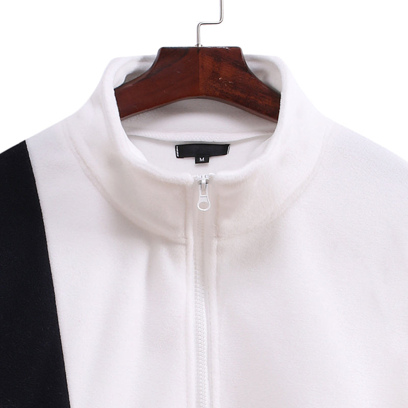 Men Patchwork Stand Collar Casual Hoodie