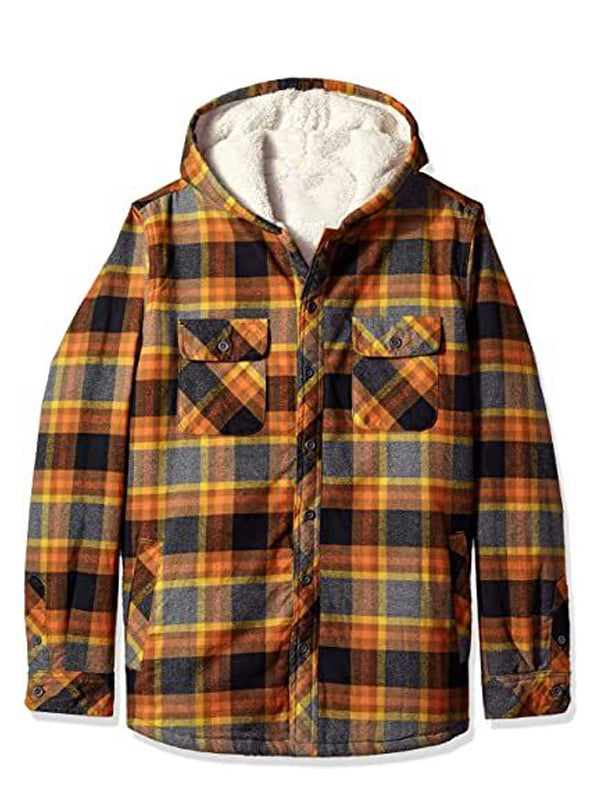 Men Hooded Plaid Print Casual Jacket