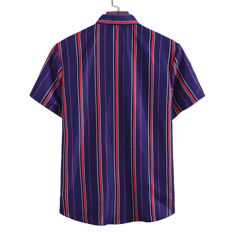 Men's Casual Striped Lapel Short Sleeve Shirt
