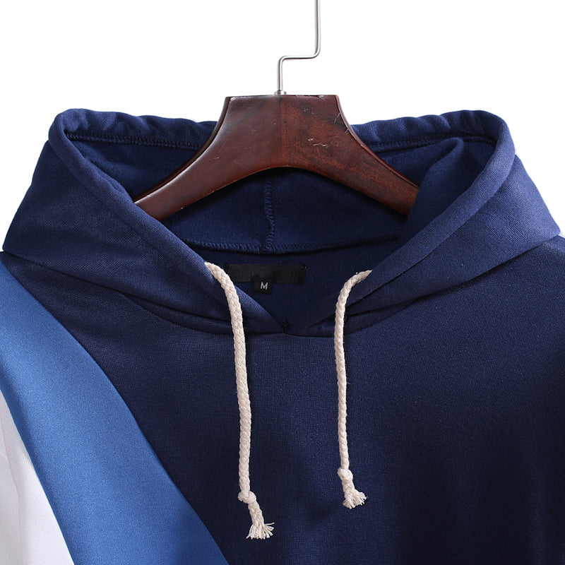 Men Casual Stitching Hooded Pullover Hoodie