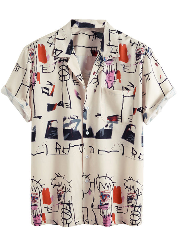 Men Fun Graffiti Print Casual Short Sleeve Shirt
