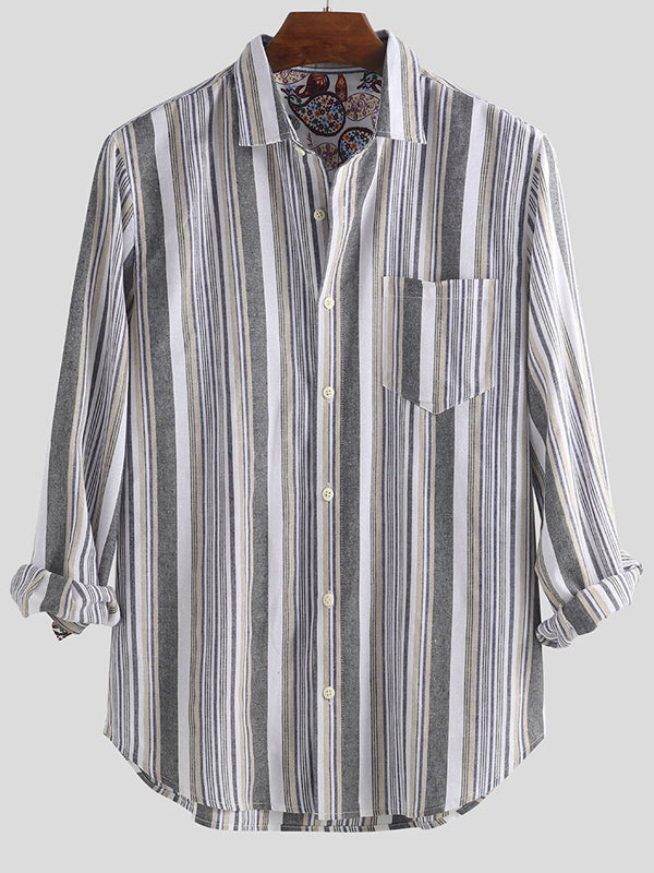 Men Striped Long Sleeves Lapel Shirt