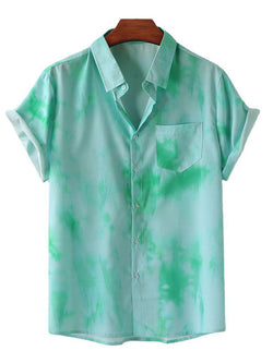 Men Tie-Dye Print Loose Collar Short Sleeve Shirt