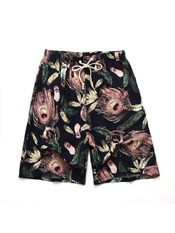 Men Straight Leg Casual Printed Shorts Swim Trunks