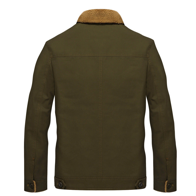 Men Lapel Solid Cotton Jacket