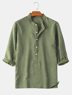 Men 3/4 Sleeve Striped Casual Henley Shirts